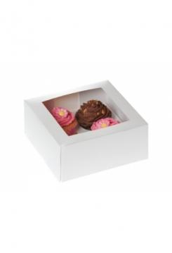 04 Cupcakes Schachtel weiss 10er Set