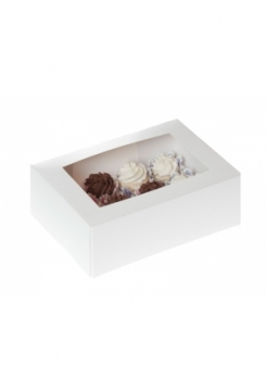 12 Cupcakes Schachtel weiss  MINI 10er..