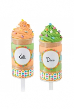 Push up Cake Pops Etiketten bunt 12Stk.