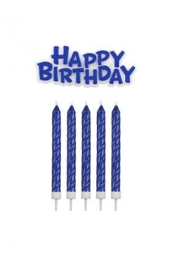 Kerzen & Happy Birthday blau 16 Stück