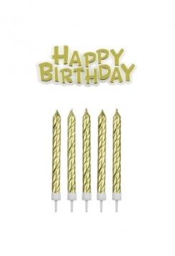 Kerzen & Happy Birthday gold 16 Stück