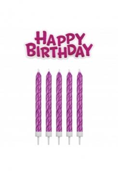 Kerzen & Happy Birthday pink 16 Stück
