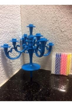Kronleuchter blau Kerzen gemischt