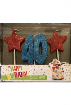 Kerze 40 Glitter blau