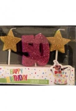Kerze 50 Glitter pink