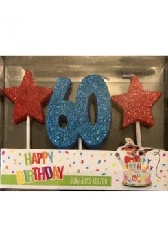 Kerze 60 Glitter blau