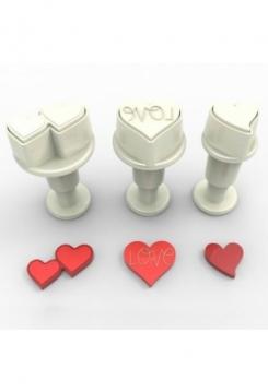 Herz Mini mit Auswerfer 3 Stk.