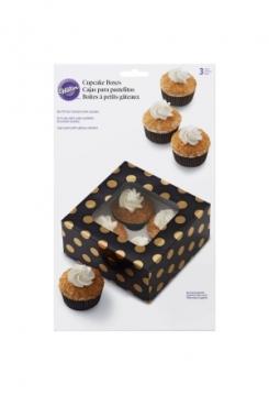 Muffinbox 4er Schwarz/Gold Set 3Stk.