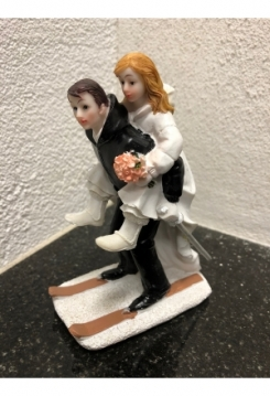 Skifahrer Brautpaar 13x10cm