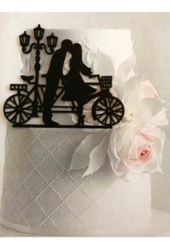 Acryl Hochzeitspaar mit Fahrrad
