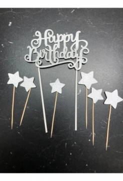 Cake Topper Happy Birthday silber Glit..