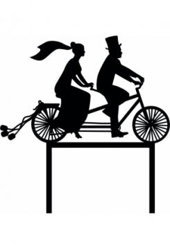 Cake Topper Hochzeitspaar auf Fahrrad