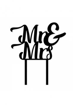 Cake Topper schwarz Mr&Mrs