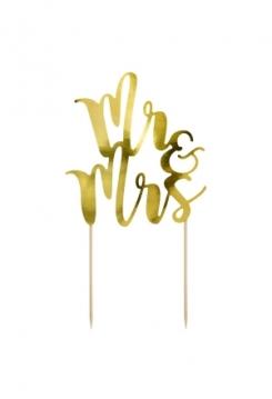 Cake Topper Mr&Mrs gold