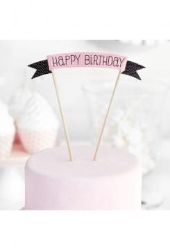 Cake Topper HB rosa/schwarz