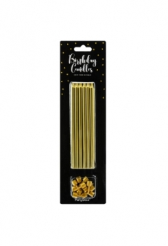 Kerzen gold lang 12,5cm 12 Stück