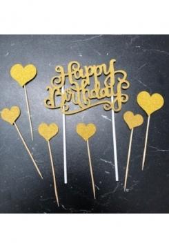 Cake Topper HB gold mit Herzen