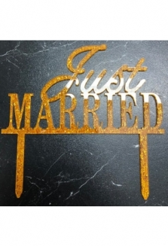 Cake Topper Just Married gold Glitter