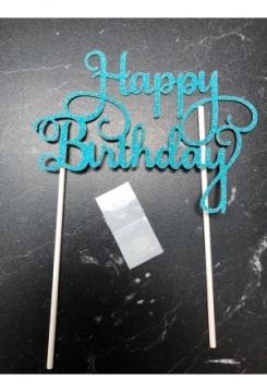Cake Topper Happy Birthday blau Glitter