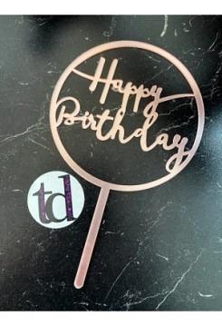 Cake Topper HB pink Kunststoff