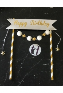 Cake Topper Happy Birthday gold weiss