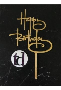 Cake Topper Happy Birthday Acryl gold