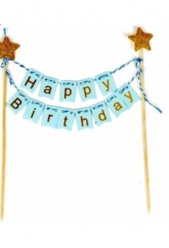 Cake Topper Happy Birthday hellblau mi..