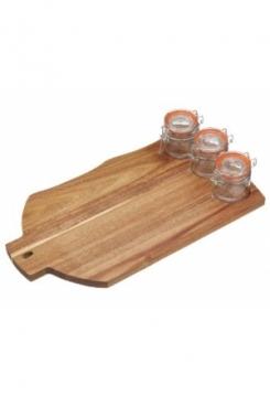 Servierplatte Holz  mit Weck Gläsern