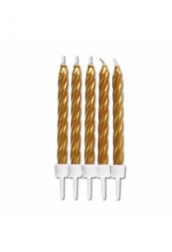 Kerzen gold 10 Stück, 7,5cm
