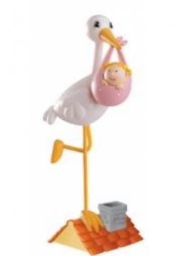 Storch mit Baby rosa