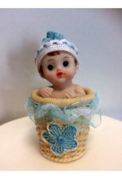 Baby im Korb blau