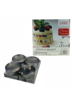 4 Dessertringe Set mit Stempel 7,5cm