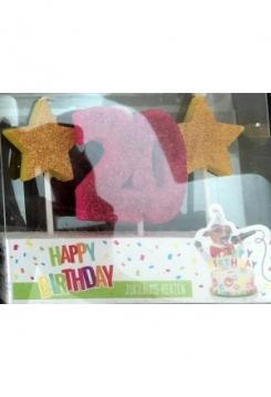 Kerze 20 Glitter pink