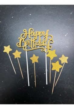 Cake Topper HB gold mit Sternen