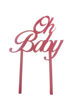 Cake Topper Oh Baby rosa transparent