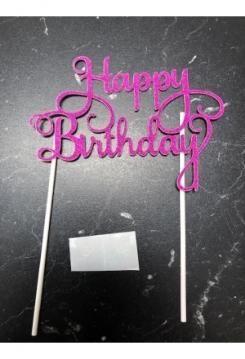 Cake Topper Happy Birthday pink Glitter