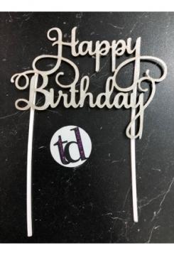 Cake Topper Happy Birthday silber Glitter