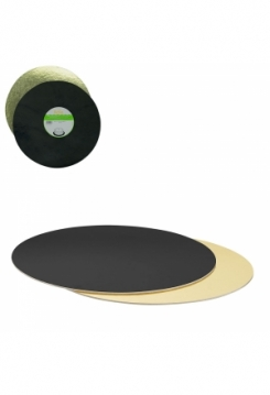 Tortenplatten 40cm gold/schwarz rund 4mm