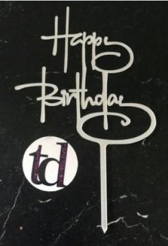 Cake Topper Happy Birthday Acryl silber
