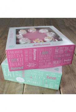 Tortenschachtel 26cm 2er Set grün/pink